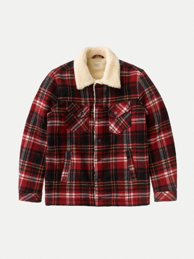 Veste sherpa carreaux rouge en laine recyclée - lenny - Nudie Jeans num 8