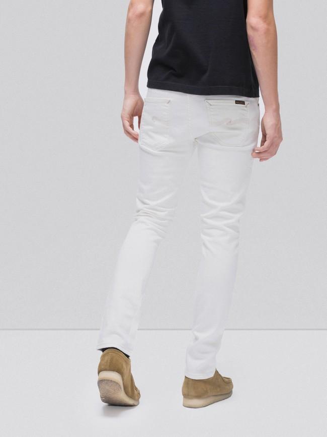 Jean slim blanc en coton bio - lean dean ecru - Nudie Jeans num 1