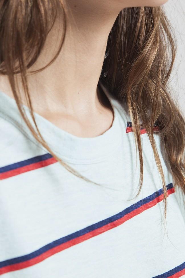 T-shirt rayé bleu clair en chanvre et coton bio - retro - Thinking Mu num 1