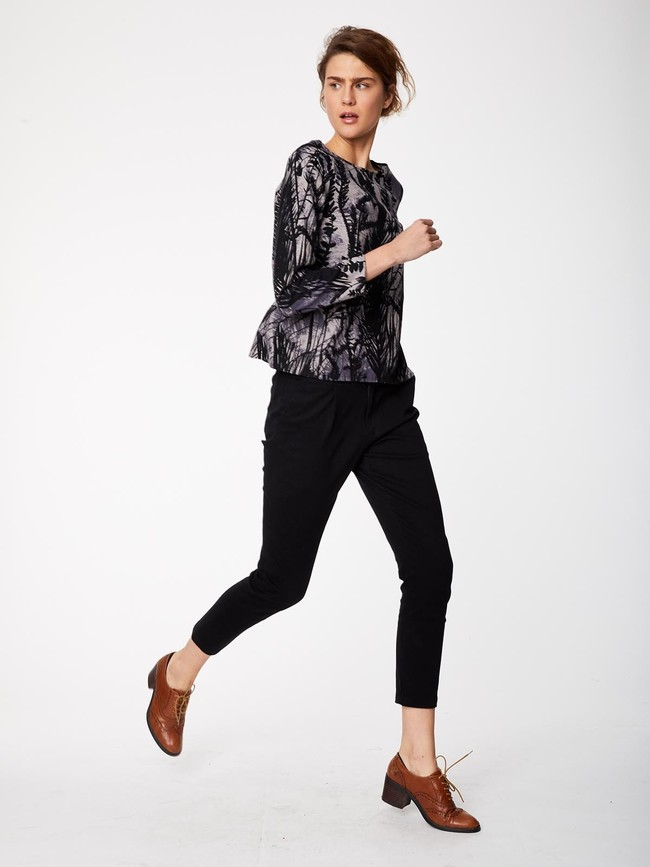 Pantalon noir en twill de coton biologique - Thought num 2