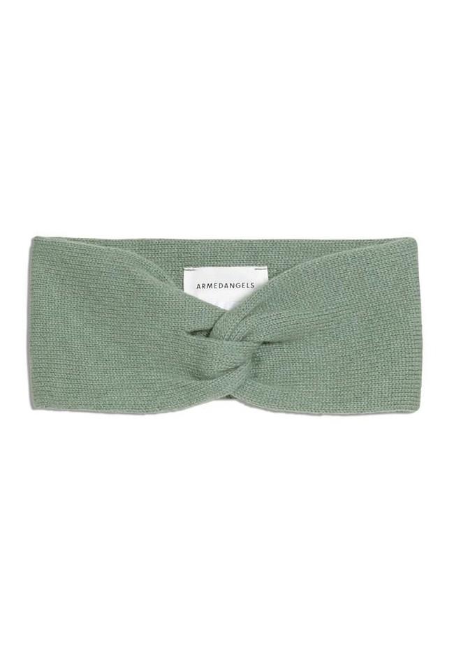 Bandeau vert pâle en coton bio et laine - maritaa - Armedangels
