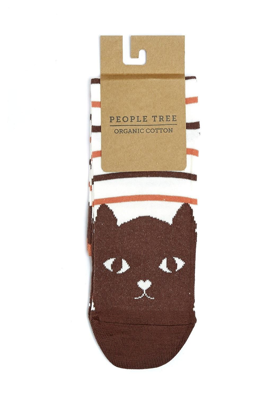 Chaussettes hautes rayées à motifs chats en coton bio - People Tree