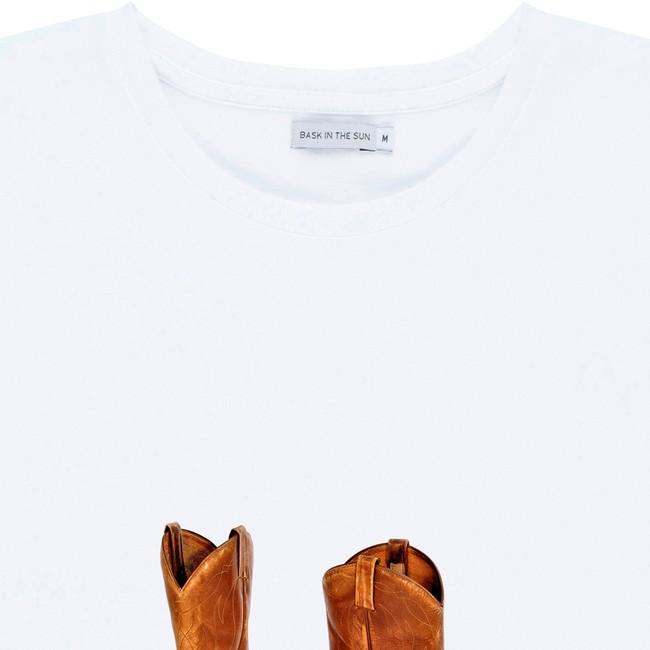 T-shirt en coton bio white western ride - Bask in the Sun num 1