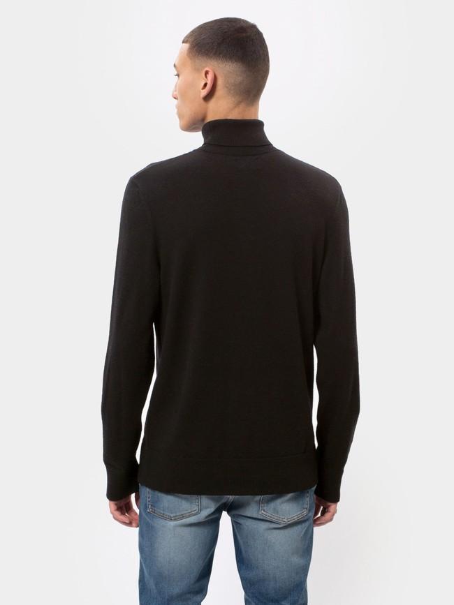 Pull col roulé noir en coton bio - cornelis - Nudie Jeans num 2