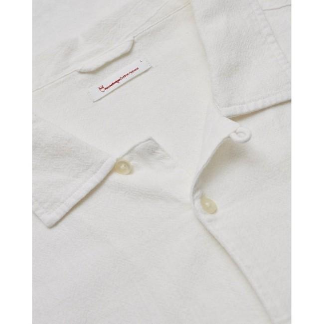 Chemise à manches courtes blanche en lin et coton bio - wave - Knowledge Cotton Apparel num 2