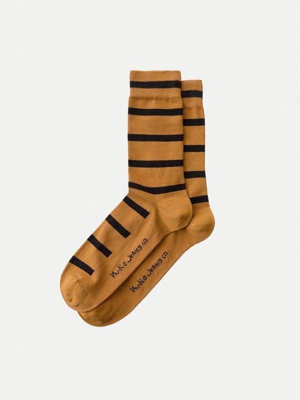 Chaussettes hautes rayées camel et noir en coton bio - olsson - Nudie Jeans