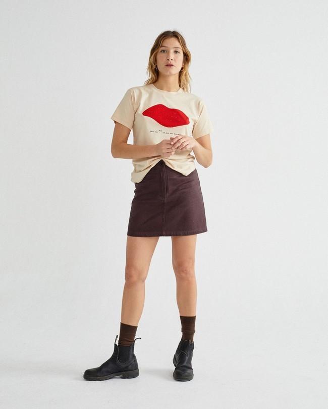 T-shirt imprimé écru en coton bio - beso - Thinking Mu num 2