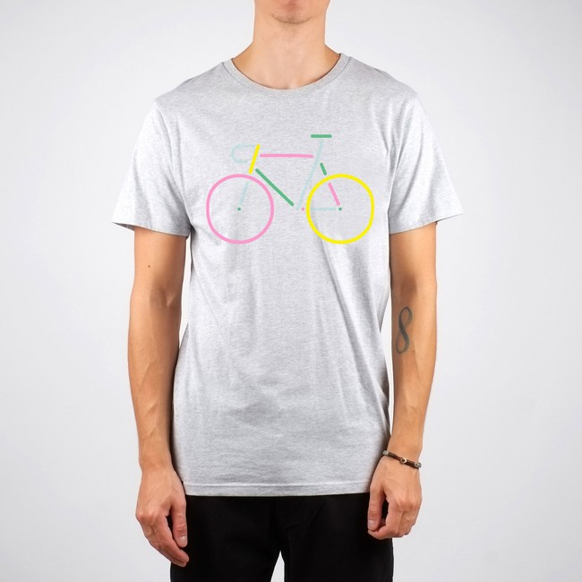 T-shirt gris vélo multicolore en coton bio - Dedicated