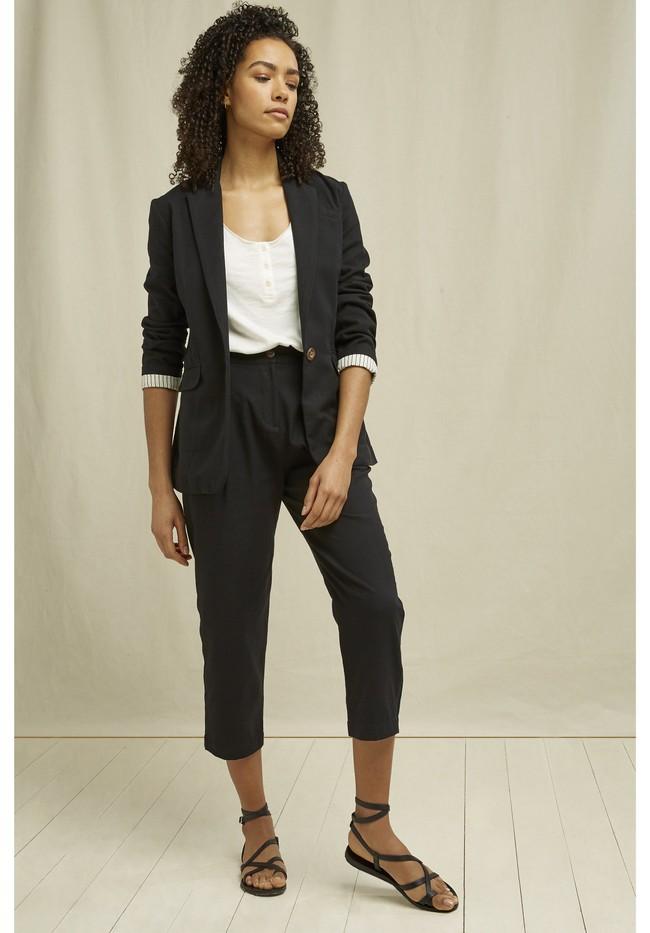 Pantalon droit noir en coton bio - anwen - People Tree num 2