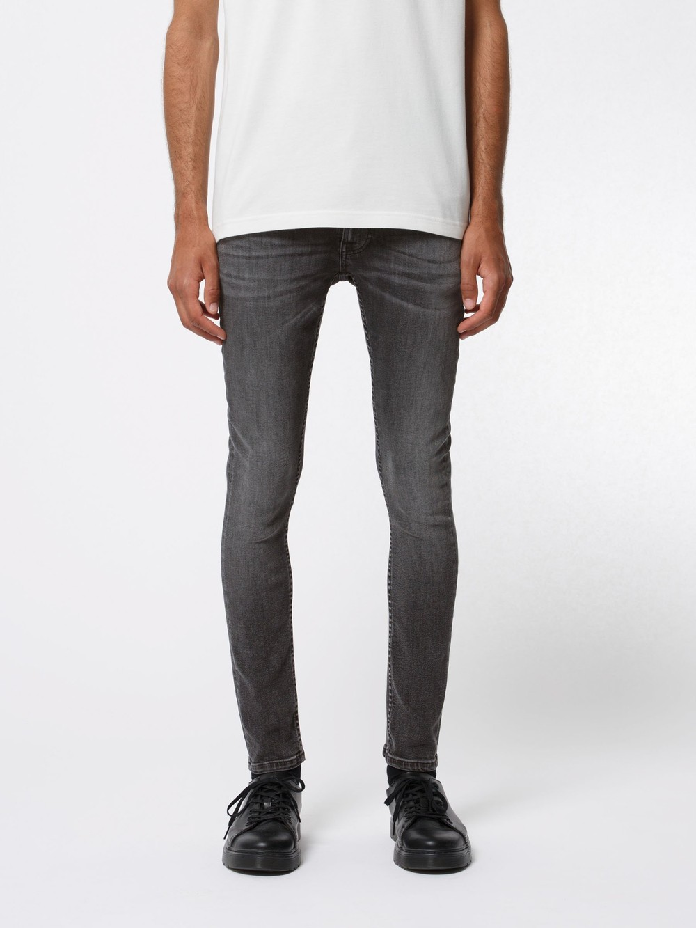 Jean skinny gris en coton bio - tight terry fade to grey - Nudie Jeans