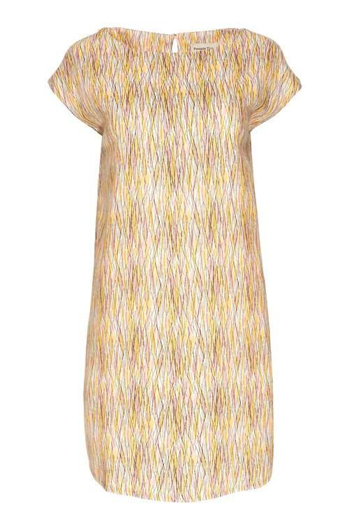 Robe courte motifs jaune et rose en tencel - rohina - People Tree num 2