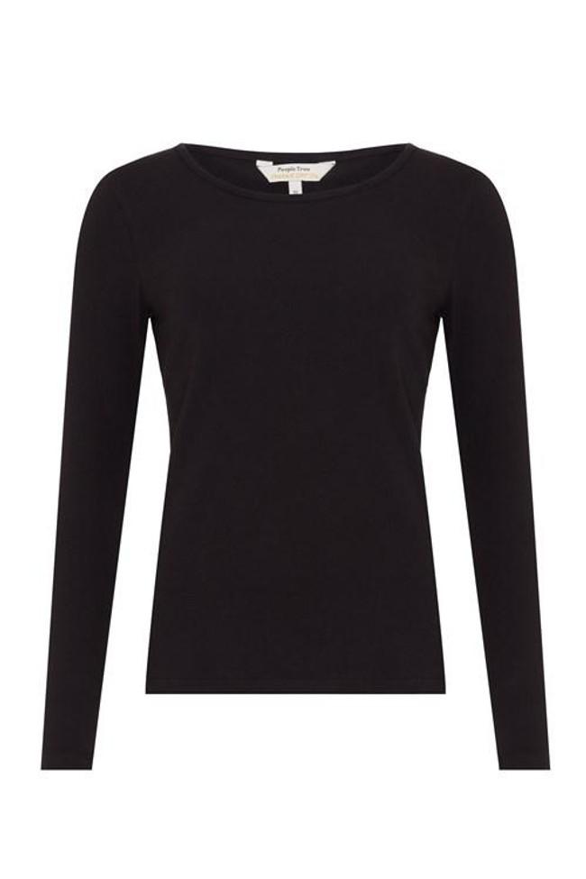 T-shirt à manches longues noir en coton bio - fallon - People Tree num 4