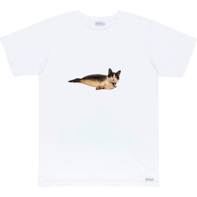 T-shirt en coton bio white catseal - Bask in the Sun