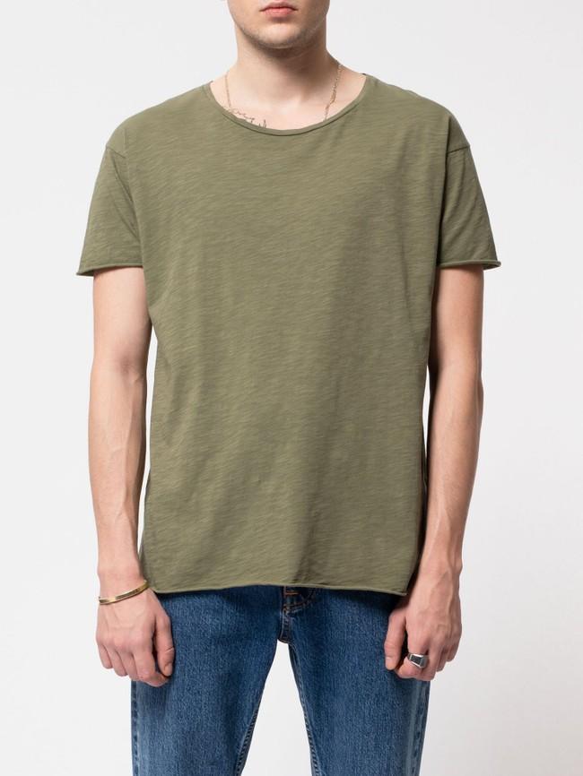 T-shirt kaki en coton bio - roger - Nudie Jeans