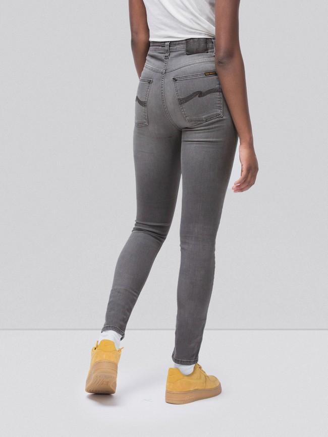 Jean skinny taille haute gris délavé en coton bio - hightop tilde grey wash - Nudie Jeans num 1
