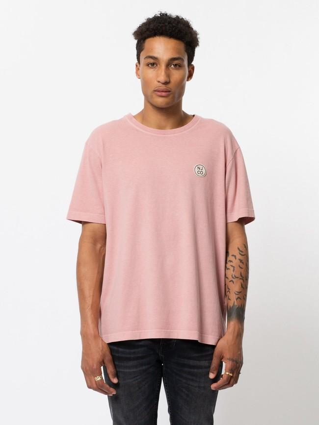 T-shirt ample rose logo blanc en coton bio - uno njco circle - Nudie Jeans