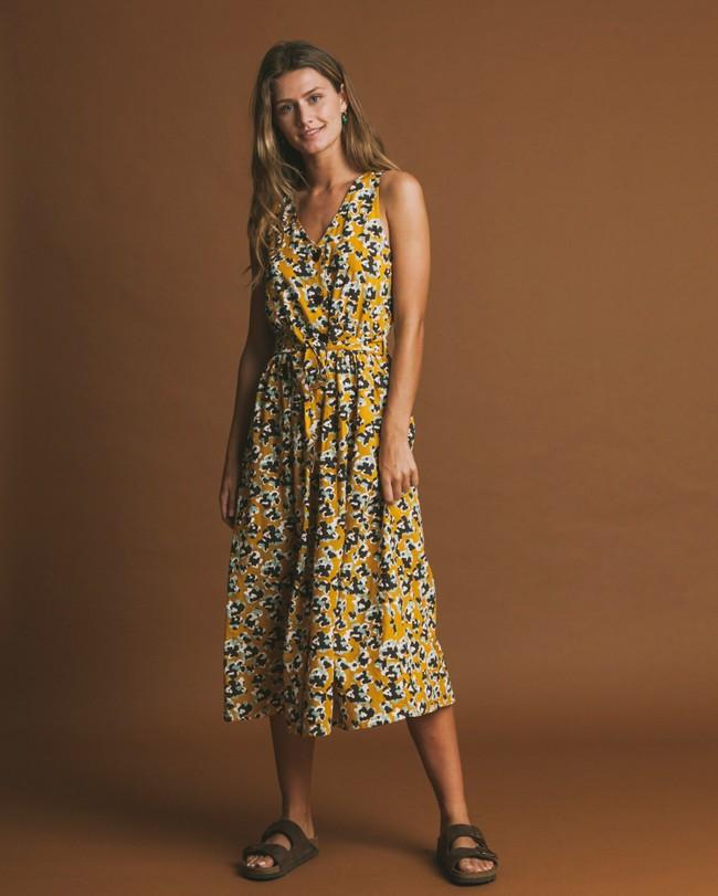 Robe longue jaune motifs fleurs en coton bio - abstract flowers - Thinking Mu