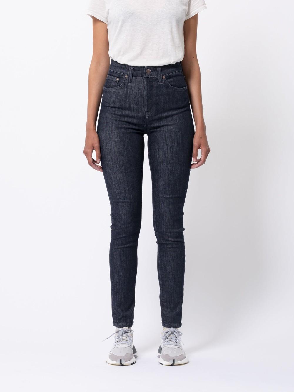Jean skinny taille haute brut en coton bio - hightop tilde dark navy - Nudie Jeans