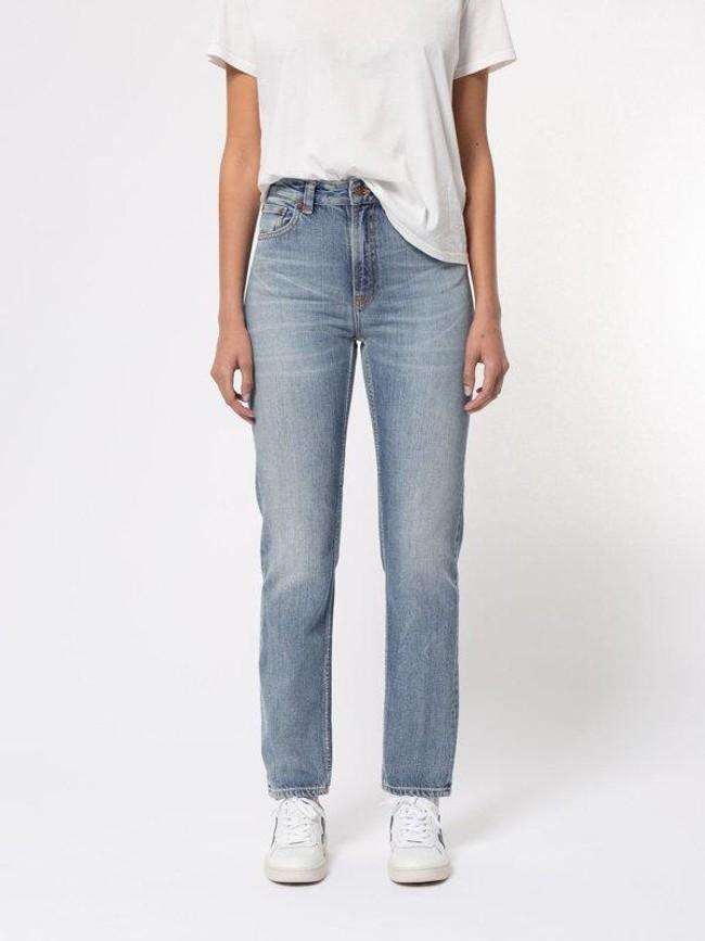 Jean mom bleu clair délavé en coton bio - breezy britt springtime - Nudie Jeans