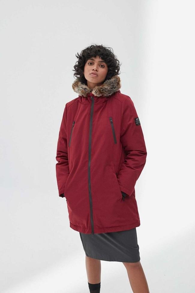 Manteau long rouge en polyester recyclé - livorno - Ecoalf