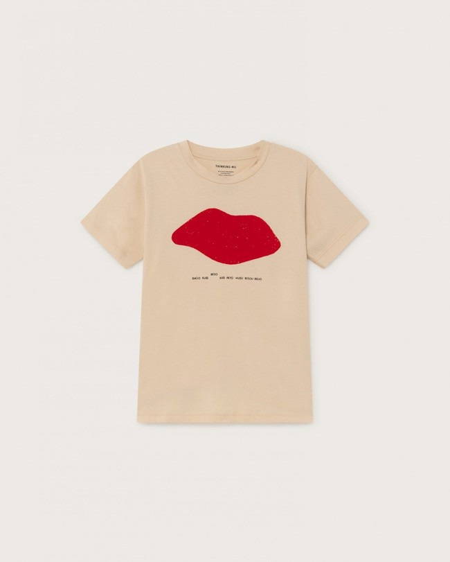 T-shirt imprimé écru en coton bio - beso - Thinking Mu num 3