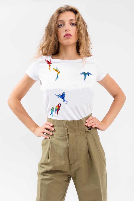 T-shirt motif perroquets - Bleu Tango