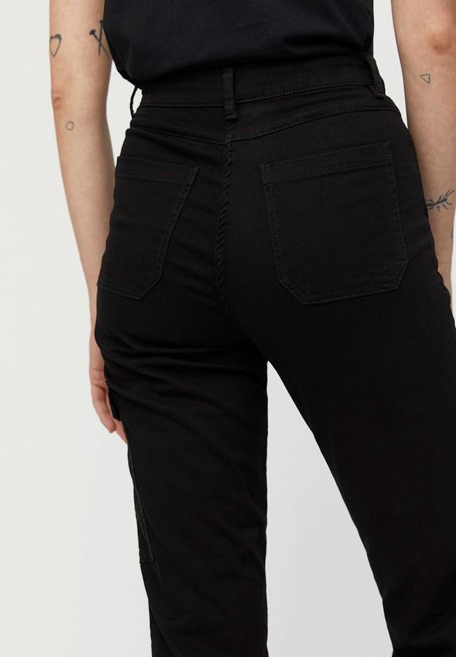 Pantalon cargo noir en coton bio - virginiaa - Armedangels num 2