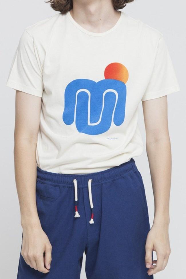 T-shirt imprimé blanc en coton bio - mu sun - Thinking Mu