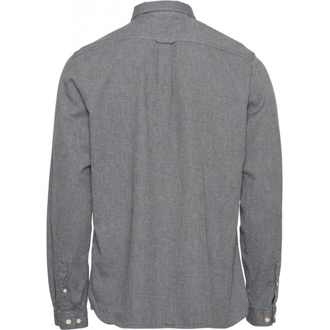 Chemise grise en coton bio - mélange effet flanelle - Knowledge Cotton Apparel num 1