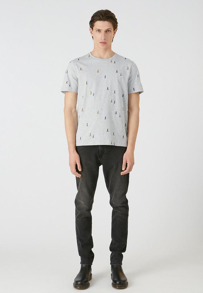 T-shirt gris motifs en coton bio - jaames people - Armedangels num 1