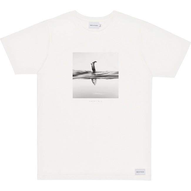 T-shirt en coton bio white aquashot - Bask in the Sun