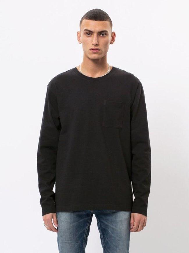 T-shirt manches longues à poche noir en coton bio - rudi - Nudie Jeans