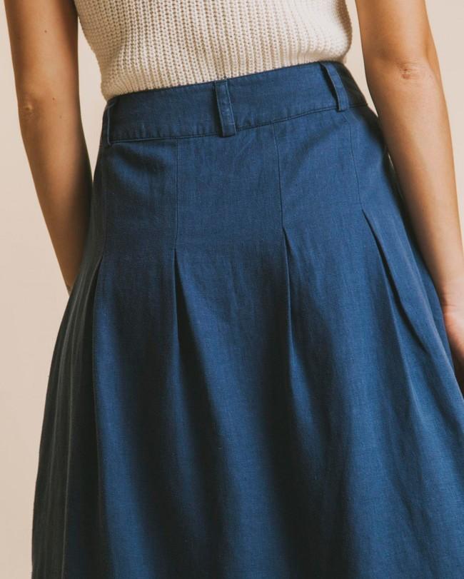 Jupe mi-longue bleu canard en chanvre et tencel - tugela - Thinking Mu num 2