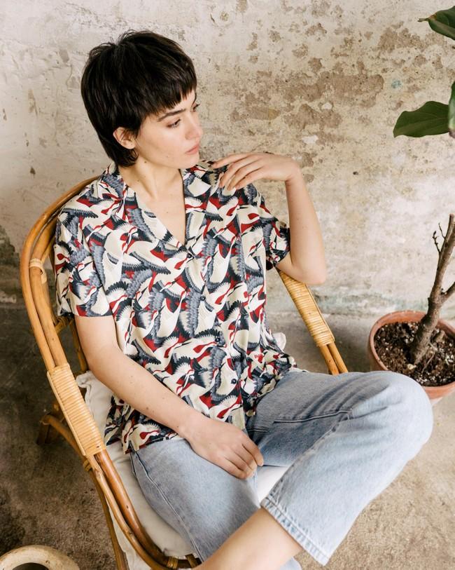 Crane for luck aloha blouse - Brava Fabrics num 6