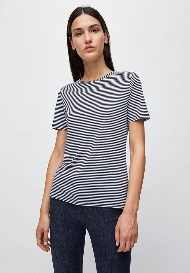 T-shirt rayures bleu marine en coton bio - lidaa - Armedangels