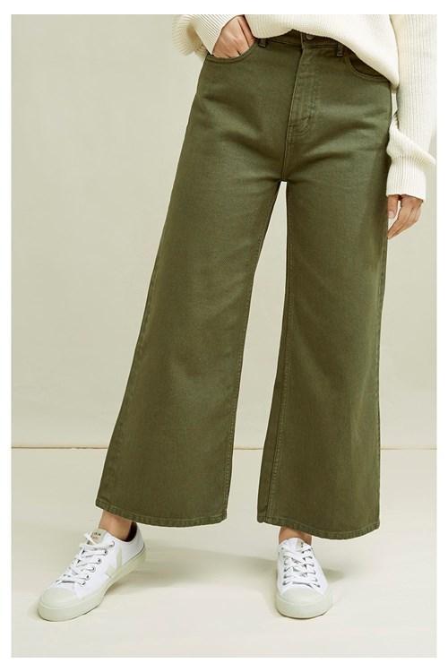 Pantalon en twill kaki ample en coton bio - ariel - People Tree