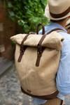 Sac à dos roll top en toile cirée et cuir - bosta - Bhallot - 8
