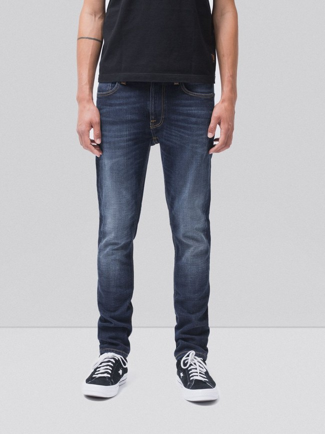 Jean slim délavé bleu foncé coton bio - lean dean dark deep worn - Nudie Jeans