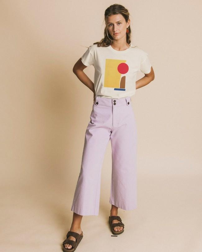T-shirt imprimé blanc en coton bio - abstract - Thinking Mu num 1