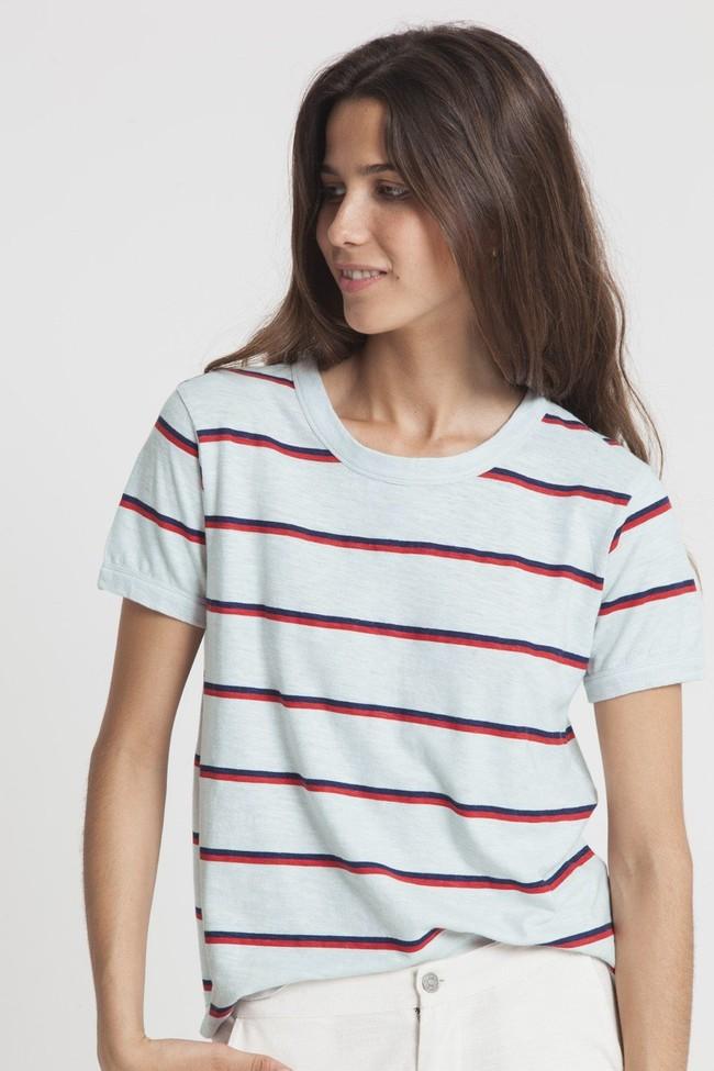T-shirt rayé bleu clair en chanvre et coton bio - retro - Thinking Mu