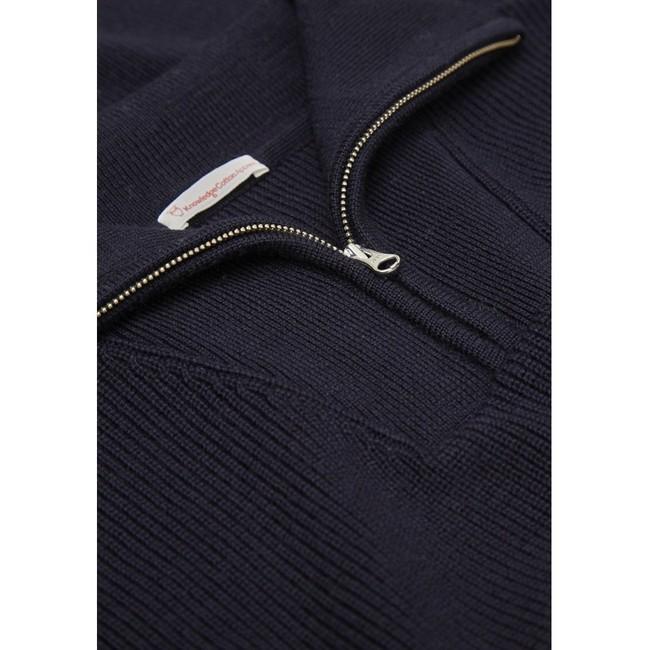 Pull col zippé marine en coton et laine bio - Knowledge Cotton Apparel num 2