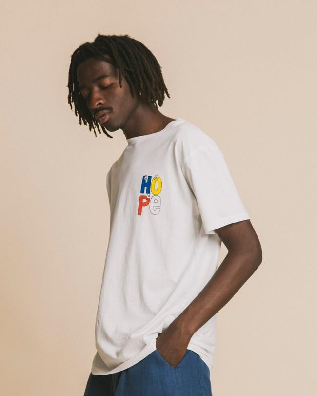 T-shirt blanc imprimé en coton bio - hope - Thinking Mu