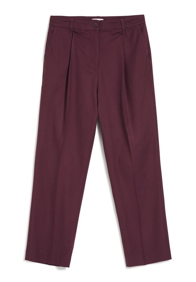 Pantalon à pinces bordeaux en coton bio - herttaa - Armedangels num 5