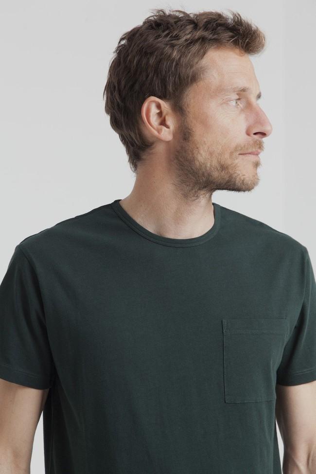 T-shirt uni vert forêt  avec poche en coton bio - Thinking Mu num 1