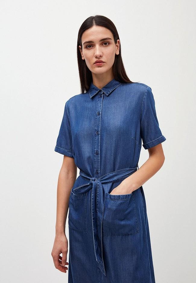 Robe col chemise bleu jean en tencel - maaisa - Armedangels num 1