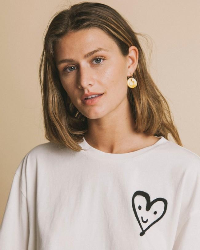 T-shirt imprimé blanc en coton bio - cute heart - Thinking Mu num 1