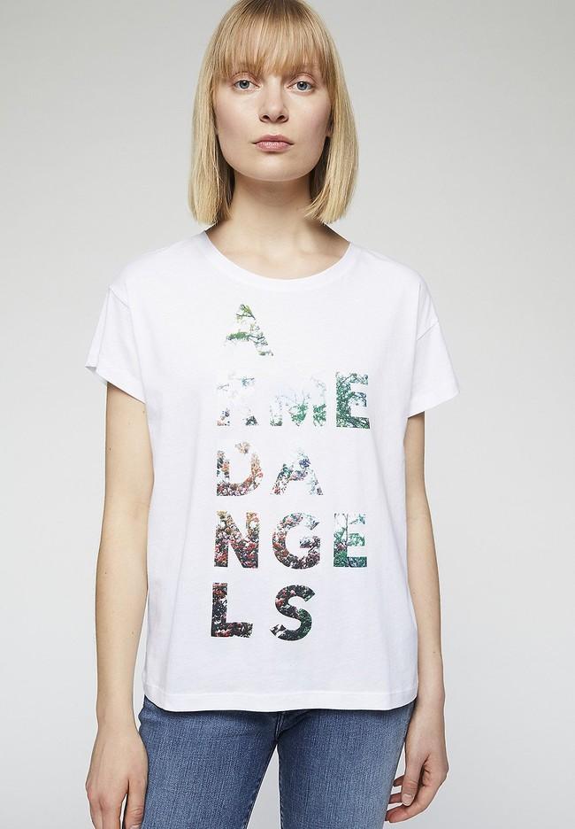T-shirt imprimé blanc en coton bio - nelaa - Armedangels