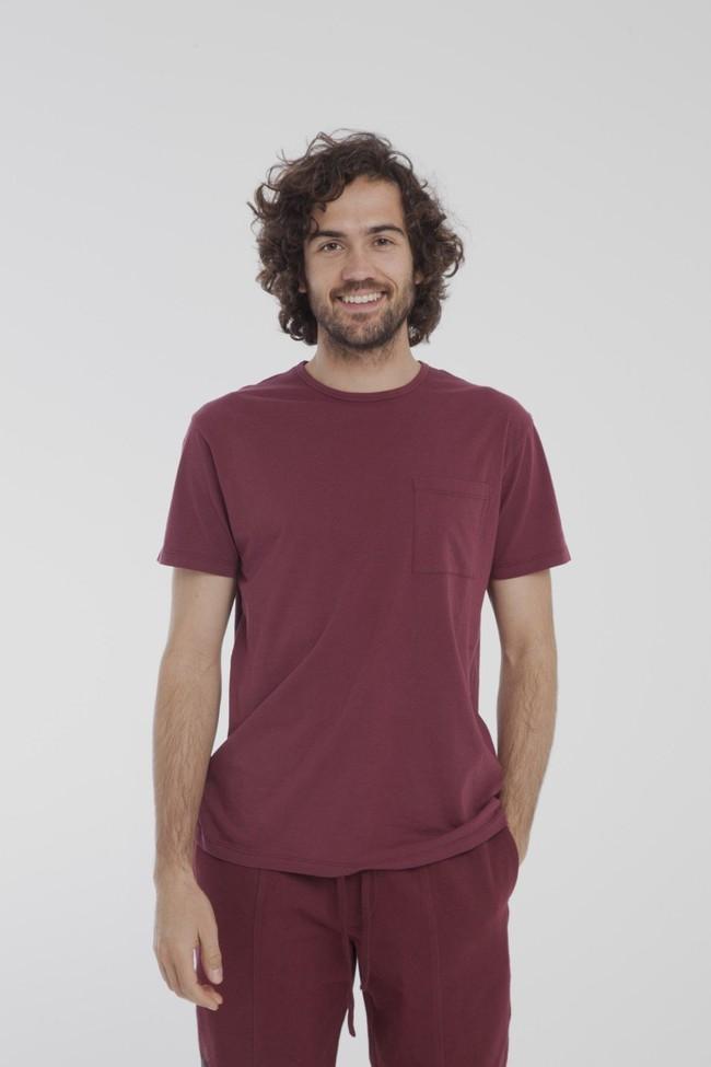 T-shirt uni bordeaux avec poche en coton bio - Thinking Mu num 2