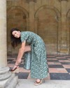 Robe longue zady manches papillons 100% viscose, imp. feuilles - Aatise - 1