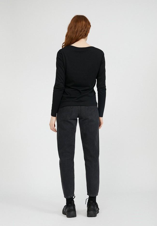 T-shirt à manches longues noir en tencel et coton bio - jamaal - Armedangels num 3